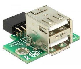 DELOCK Αντάπτορας USB 2.0 9 pin header(F) σε 2x USB 2.0A (F)