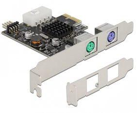 DELOCK κάρτα επέκτασης PCIe σε 2x PS/2 90049 low profile